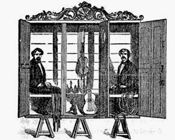 "Another view of the Cabinet, showing ropes and musical instruments prior to the ""Séance"""