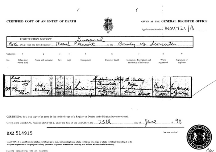 Death Certificate registered on 8th January 1875