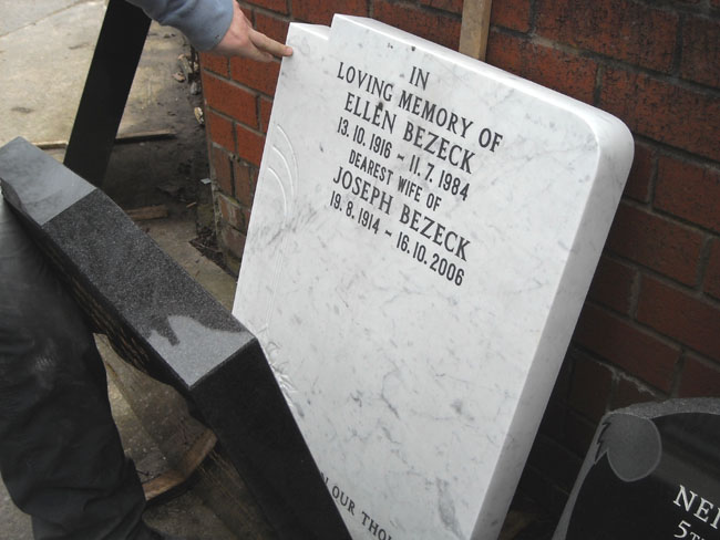 Sample of Italian marble at Welsby's Memorials, Liverpool